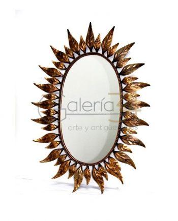 Espejo sol de cobre con hojas
