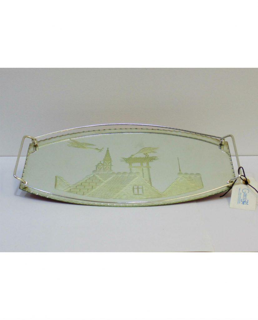 Bandeja de cristal grabado años 50