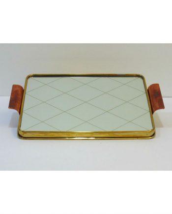 Bandeja Art déco de cristal, latón y cobre