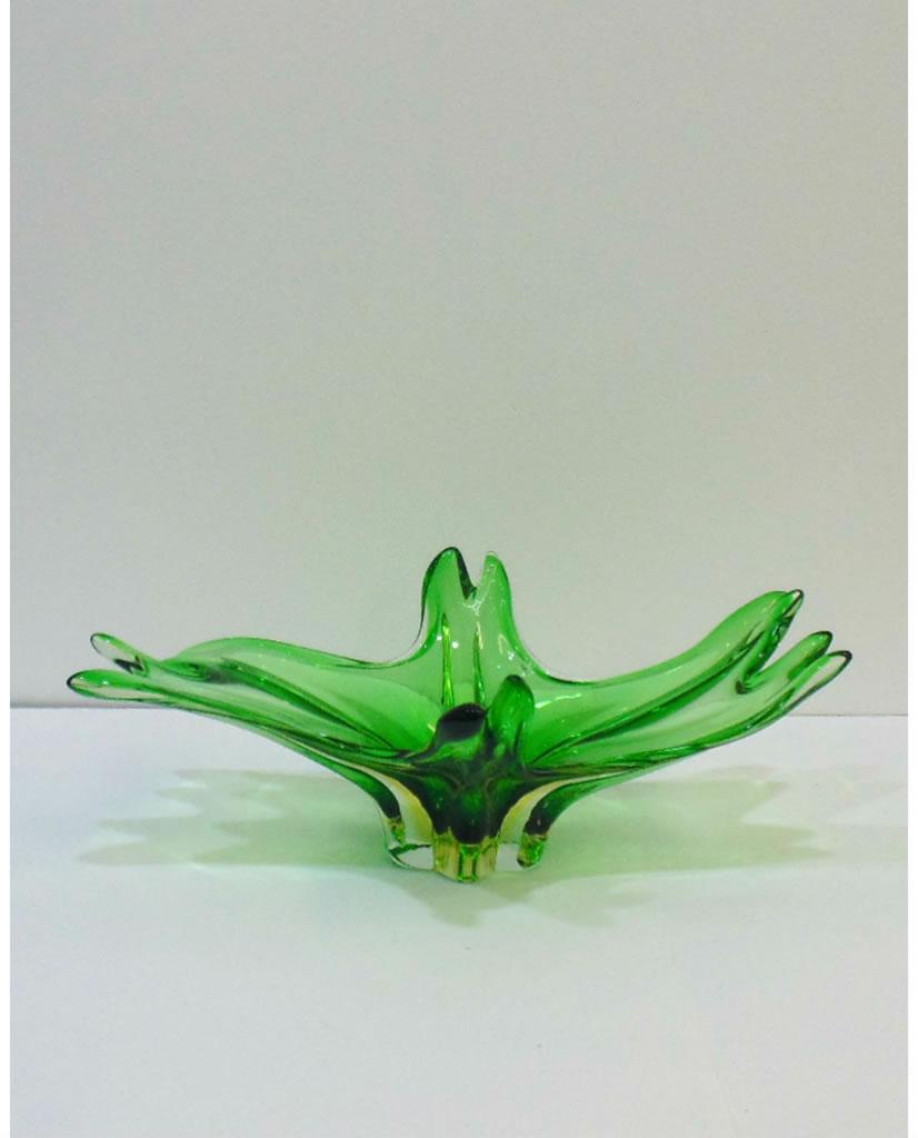 Centro de mesa de cristal de Murano verde