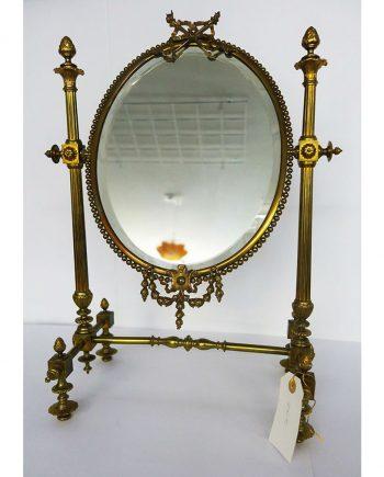 Espejo vintage neoclásico de bronce y metal dorados