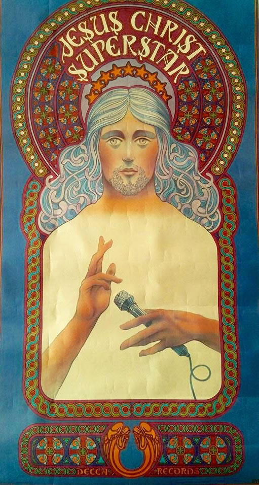 """Cartel original Jesucristo Superstar del artista americano David Byrd realizado en el año 1971 para la promoción de la ópera-rock """"Jesuschrist Superstar"""""""