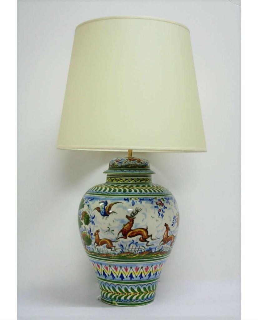 L mpara de mesa de cer mica de la cartuja de sevilla - Lamparas de ceramica ...