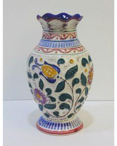 Florero vintage de cerámica esmaltada