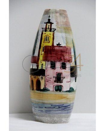 Jarrón cerámica alemana pintado a mano