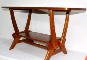 Mesa vintage francesa de madera de roble. Mueble antiguo