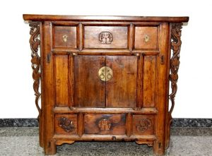 Consola china antigua de madera de olmo