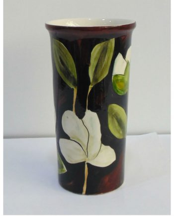 Florero de cerámica vintage pintado a mano