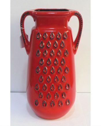 Jarrón tipo oriental de cerámica esmaltada