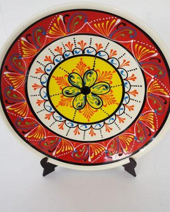 Plato de cerámica vintage con tres círculos concéntricos