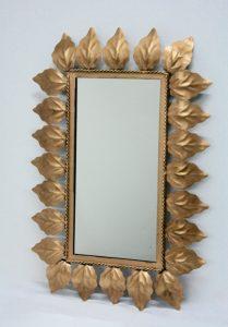 Espejo sol rectangular de metal dorado