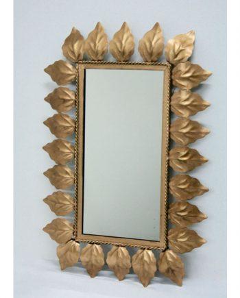 Espejo sol rectangular dorado
