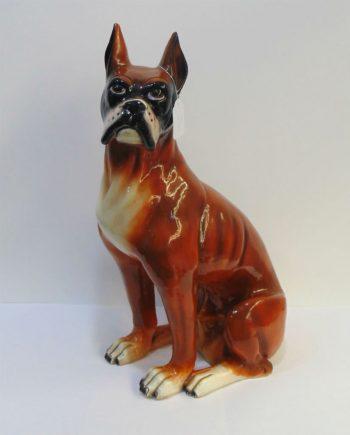 Perro de cerámica vintage raza Boxer