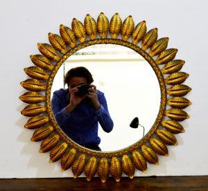 espejo sol de metal decoración vintage