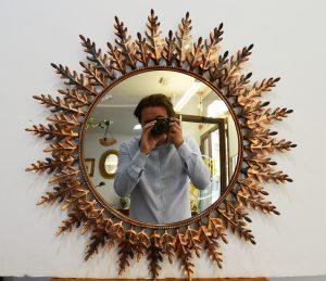 espejo sol vintage de metal de preciosas hojas