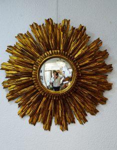 increíble espejo sol de madera vintage y cristal convexo