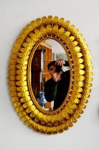 espejo sol dorado de metal y doble hoja