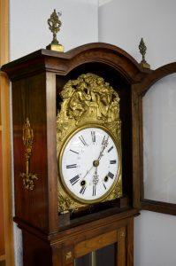 reloj de pie antiguo morez con caja de madera