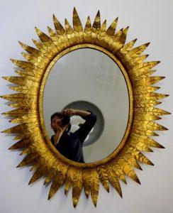 espejo sol vintage antiguo de metal hojas